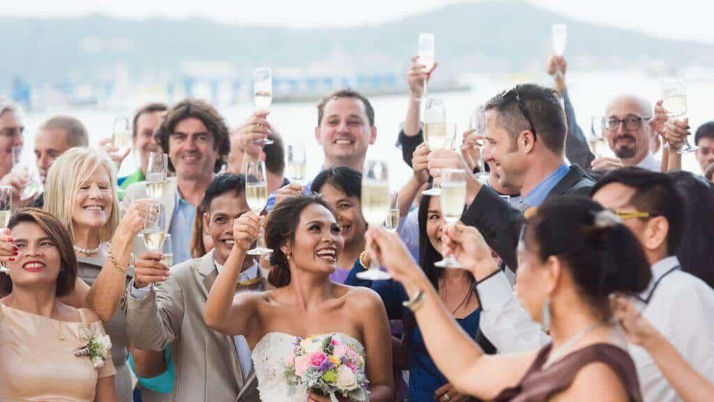 Champagne Toast Beach Wedding Phuket Thailand
